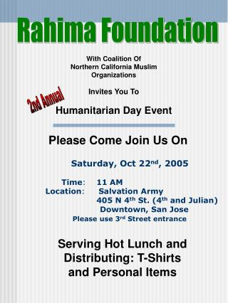 With Coalition Of  Northern California Muslim Organizations Invites You To Humanitarian Day Event