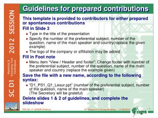 Guidelines for prepared contributions