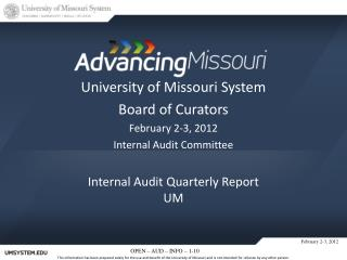 Internal Audit Quarterly  Report UM