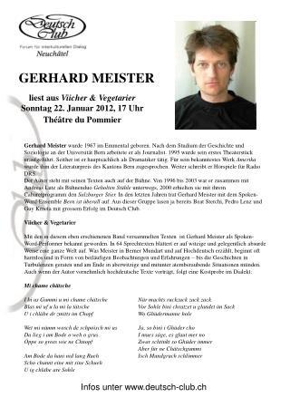 liest aus  Viicher & Vegetarier Sonntag 22. Januar 2012, 17 Uhr   Théâtre du Pommier