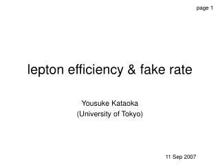 lepton efficiency & fake rate