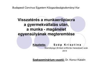 Készítette: S z é p   K r i s z t i n a Személyügyi (Emberi erőforrás menedzser) szak 2014