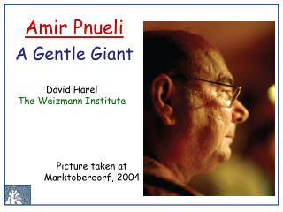 David Harel The Weizmann Institute