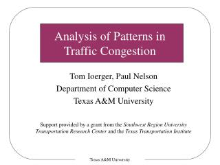 Analysis of Patterns in  Traffic Congestion