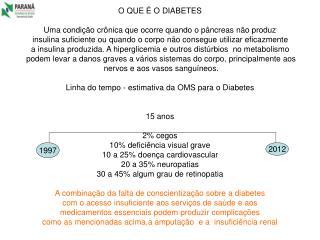 O QUE É O DIABETES Uma condição crônica que ocorre quando o pâncreas não produz