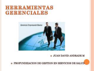 HERRAMIENTAS GERENCIALES JUAN DAVID ANDRADE M PROFUNDIZACION DE GESTION EN SERVICIOS DE SALUD