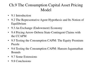 Ch.9 The Consumption Capital Asset Pricing Model