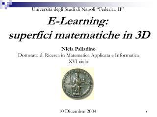 E-Learning:  superfici matematiche in 3D