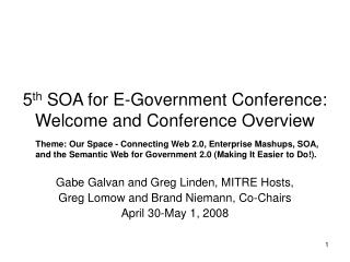 5 th  SOA for E-Government Conference: Welcome and Conference Overview