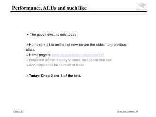 Performance, ALUs and such like