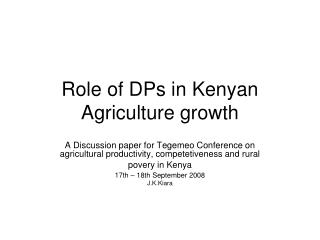 Role of DPs in Kenyan Agriculture growth