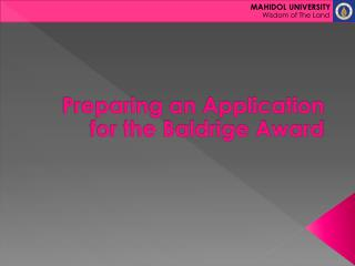 Preparing an Application for the Baldrige Award