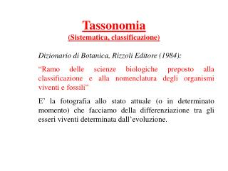 Tassonomia (Sistematica, classificazione)