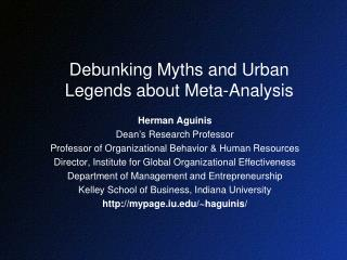 Debunking Myths and Urban Legends about Meta-Analysis