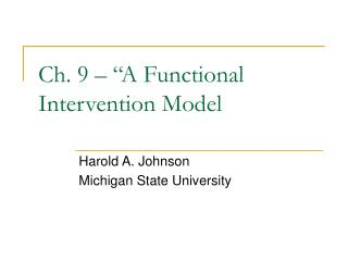 "Ch. 9 – ""A Functional Intervention Model"