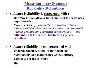 Musa-Iannino-Okumoto Reliability Definitions