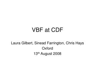 VBF at CDF