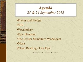 Agenda  23 & 24 September 2013