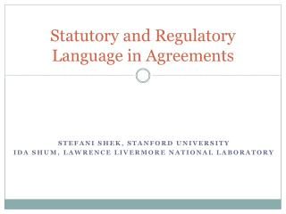 Statutory and Regulatory Language in Agreements
