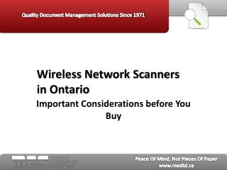 Wireless Network Scanners in Ontario - MES Hybrid
