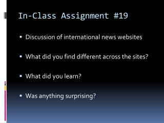 In-Class Assignment #19