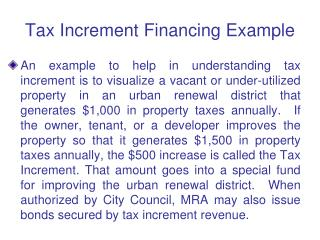 Tax Increment Financing Example