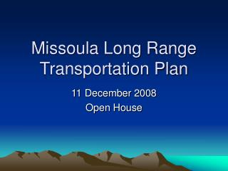 Missoula Long Range Transportation Plan