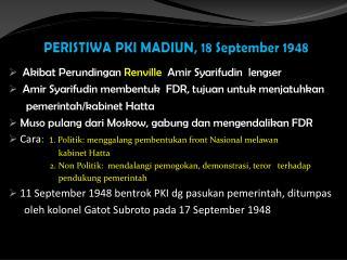 PERISTIWA PKI MADIUN, 18 September 1948
