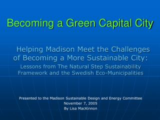 Becoming a Green Capital City