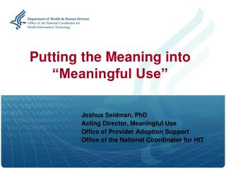 Putting the Meaning into �Meaningful Use�