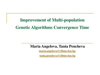 Improvement of Multi-population  Genetic Algorithms Convergence Time