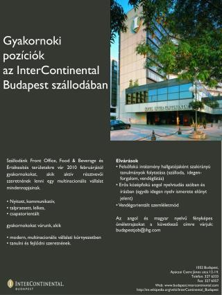 Gyakornoki pozíciók az InterContinental Budapest szállodában