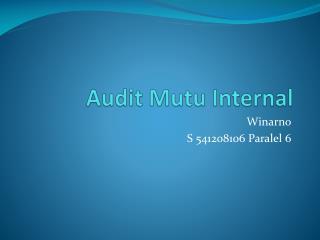 Audit  Mutu  Internal
