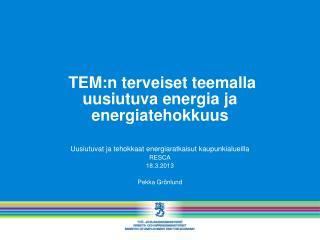 TEM:n terveiset teemalla uusiutuva energia ja energiatehokkuus