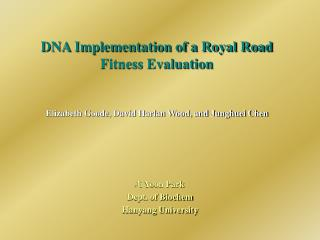 DNA Implementation of a Royal Road Fitness Evaluation