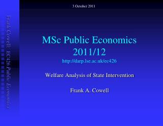 MSc Public Economics  2011