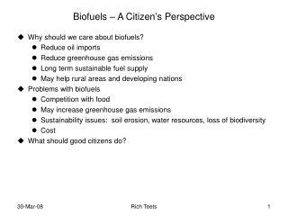 Biofuels – A Citizen's Perspective