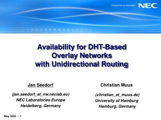 Availability for DHT-Based Overlay Networks with Unidirectional Routing