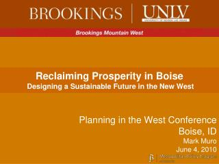 Reclaiming Prosperity in Boise  Designing a Sustainable Future in the New West