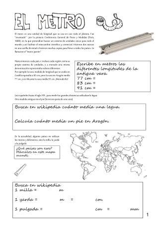 Escribe en metros las diferentes longitudes de la antigua vara.  77 cm =  83 cm =  91 cm =