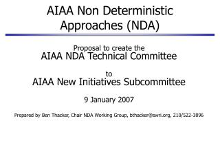 AIAA Non Deterministic Approaches (NDA)