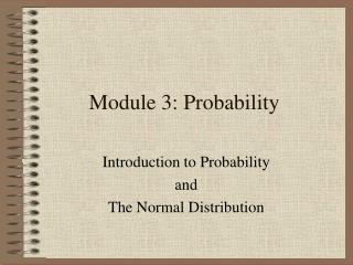 Module 3: Probability