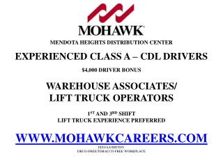 MENDOTA HEIGHTS DISTRIBUTION CENTER EXPERIENCED CLASS A – CDL DRIVERS $4,000 DRIVER BONUS