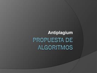 Propuesta de algoritmos