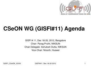 CSeON WG (GISFI#11) Agenda
