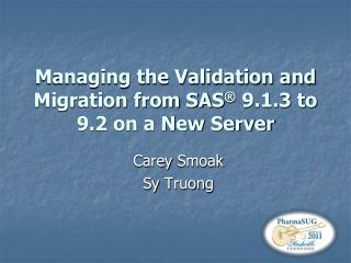 Managing the Validation and Migration from SAS  9.1.3 to 9.2 on a New Server