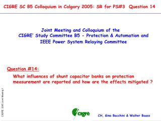 CIGRE SC B5 Colloquium in Calgary 2005: SR for PS#3  Question 14