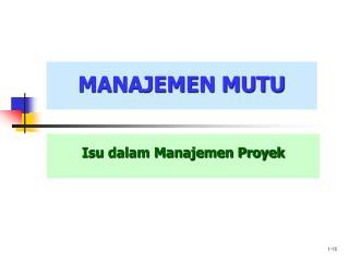 Isu dalam Manajemen Proyek