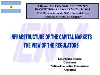 Lic. Narciso Muñoz Chairman  National Securities Commission Argentina