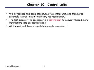 Chapter 10- Control units